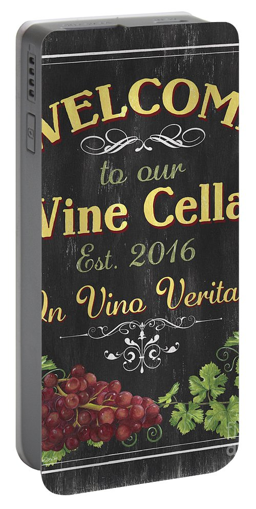 Wine Portable Battery Charger featuring the painting Wine Cellar Sign 1 by Debbie DeWitt