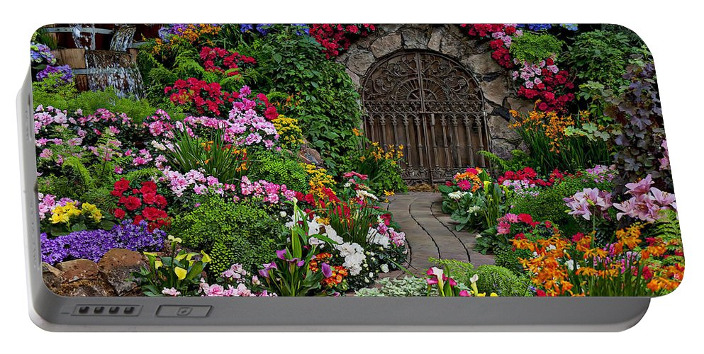 Flowers Portable Battery Charger featuring the photograph Wine Celler Gates by Garry Gay