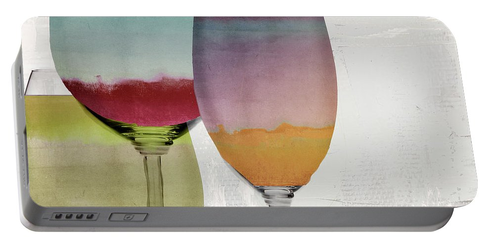Wine Portable Battery Charger featuring the painting Wine Prism by Mindy Sommers