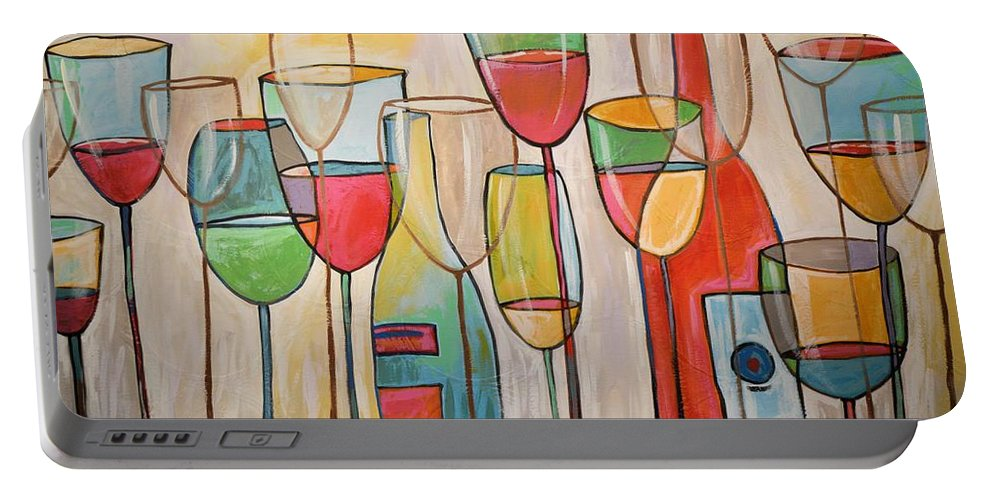 Wine Portable Battery Charger featuring the painting Wine Tasting by Amy Giacomelli