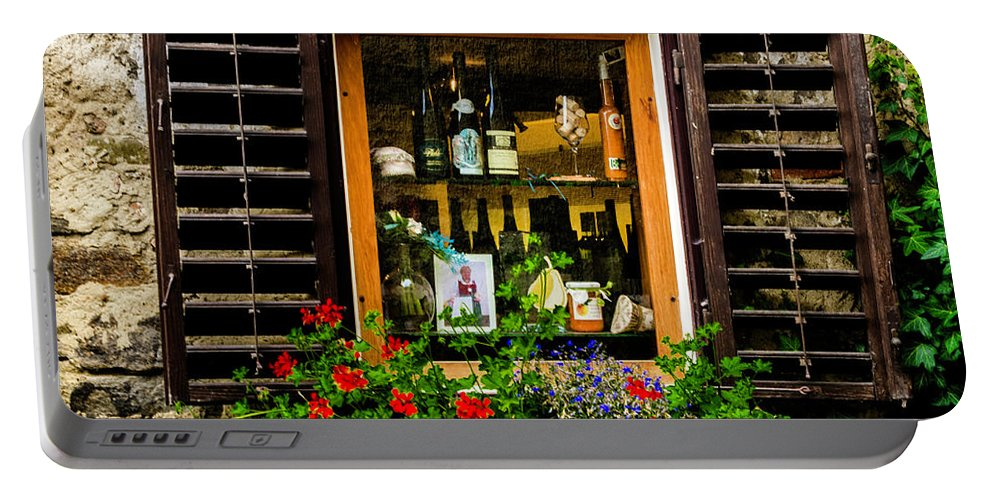 Wine Portable Battery Charger featuring the photograph Wine Window by Wolfgang Stocker