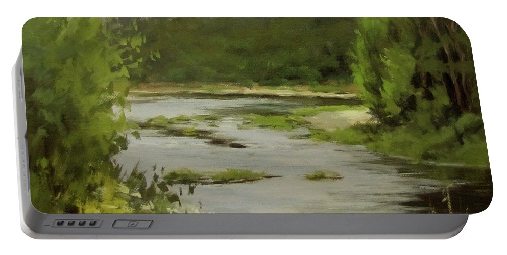 River Portable Battery Charger featuring the painting Winery River by Karen Ilari