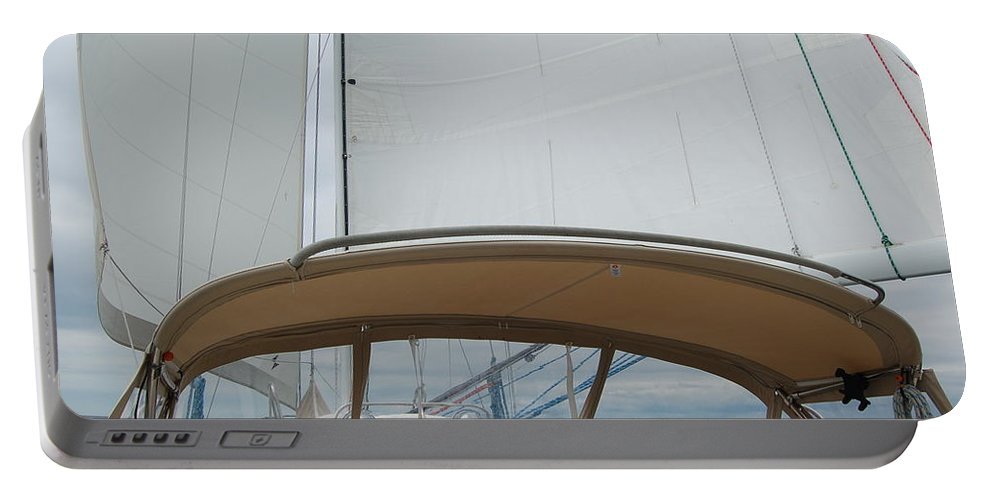 Sailing Portable Battery Charger featuring the photograph Wing On Wing by Christopher James