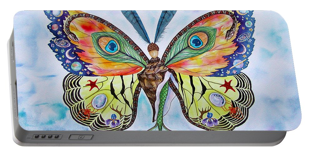 Butterfly Portable Battery Charger featuring the painting Winged Metamorphosis by Lucy Arnold