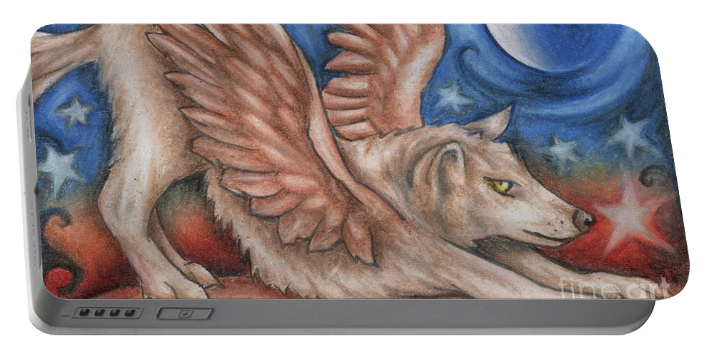 Wolf Angel Portable Battery Charger featuring the drawing Winged Wolf In Downward Dog Yoga Pose by Kristin Aquariann