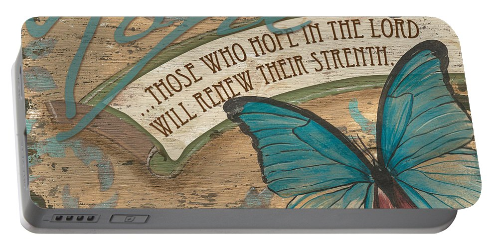 Butterfly Portable Battery Charger featuring the painting Wings Of Hope by Debbie DeWitt