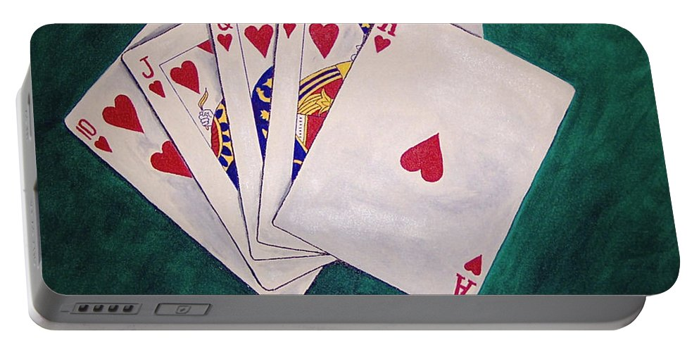 Playing Cards Wining Hand Role Flush Portable Battery Charger featuring the painting Wining Hand 2 by Herschel Fall