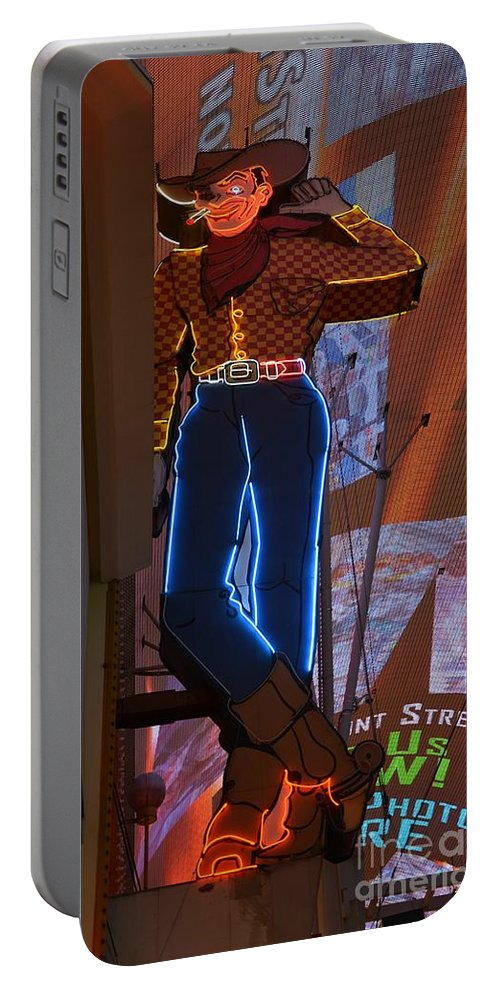 Los Vegas Portable Battery Charger featuring the photograph Winking Cowboy by Amanda Kessel