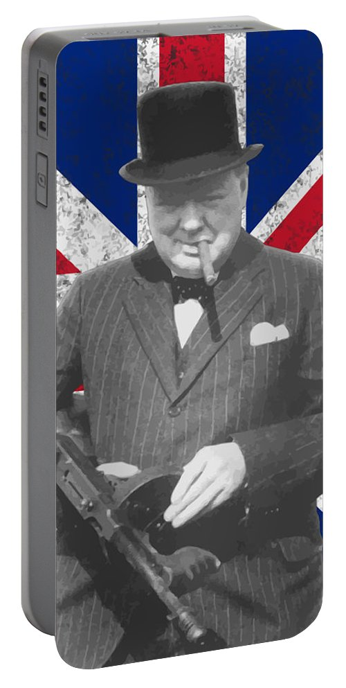 Winston Churchill Portable Battery Charger featuring the painting Winston Churchill And His Flag by War Is Hell Store