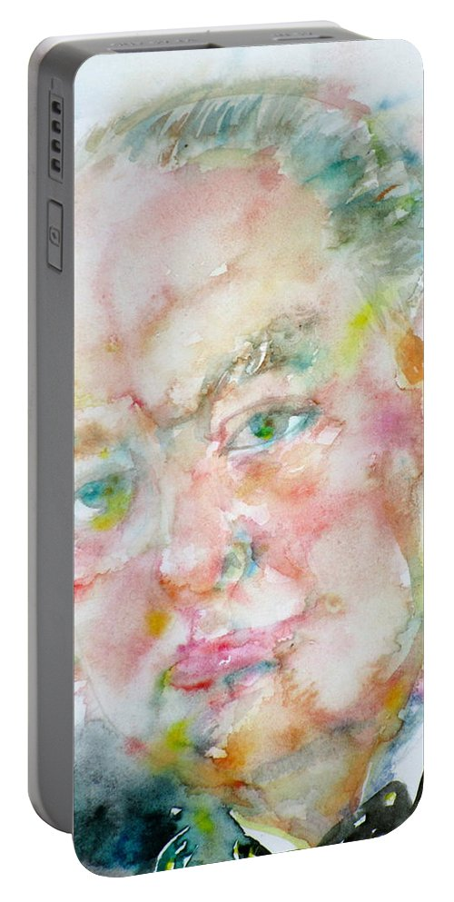 Winston Churchill Portable Battery Charger featuring the painting Winston Churchill - Watercolor Portrait.4 by Fabrizio Cassetta