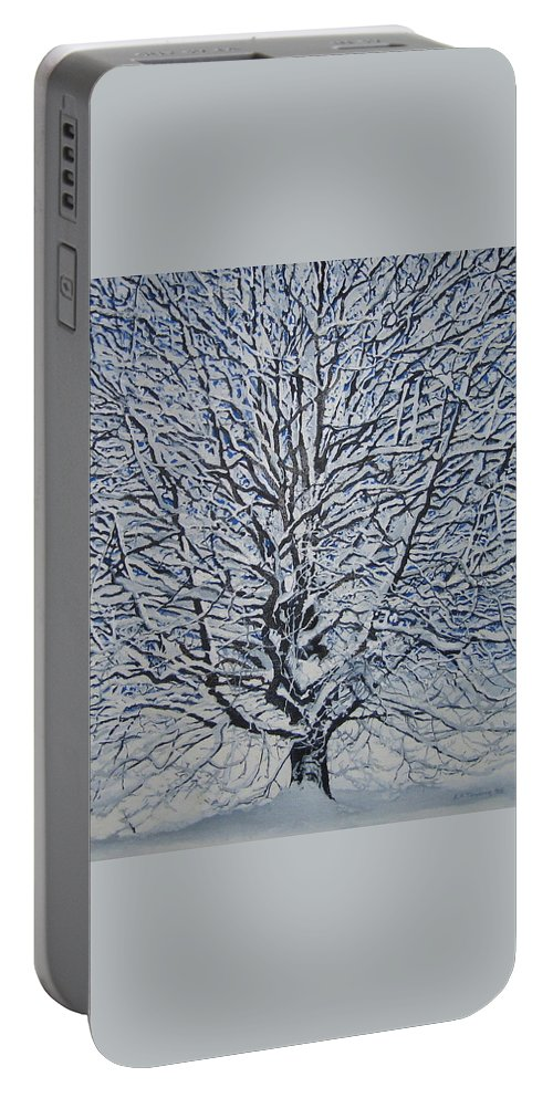 Winter Portable Battery Charger featuring the painting Winter '05 by Leah Tomaino