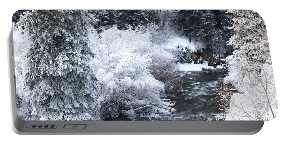 Trees Portable Battery Charger featuring the photograph Winter Along The Creek by DeeLon Merritt