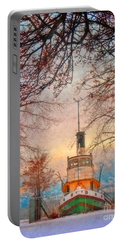 Tug Portable Battery Charger featuring the photograph Winter And The Tug Boat by Tara Turner