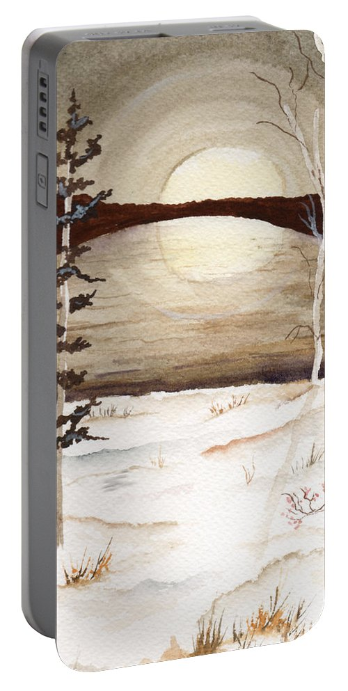 Watercolor Portable Battery Charger featuring the painting Winter Apex by Brenda Owen