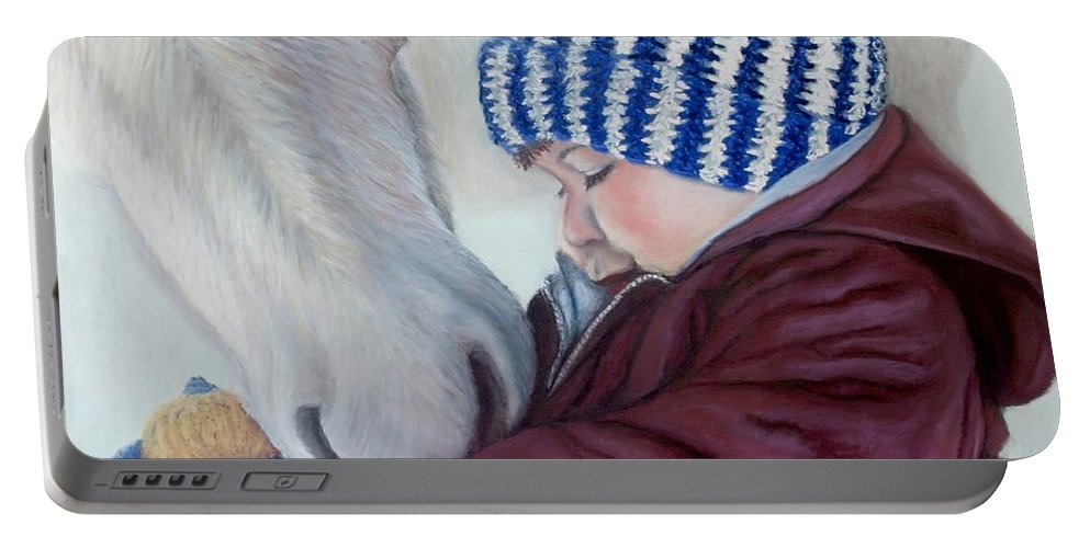 Horse Portable Battery Charger featuring the painting Winter Apples by Minaz Jantz