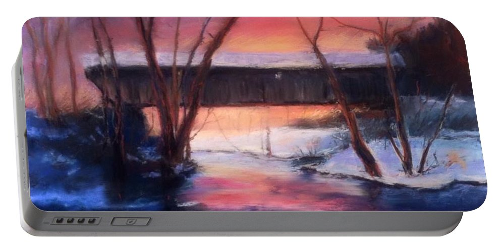 Landscape Portable Battery Charger featuring the painting Winter at Bennett's Mill by Gail Kirtz