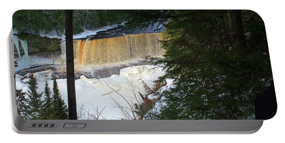 Tahquamenon Falls Portable Battery Charger featuring the photograph Winter At Tahquamenon by Linda Kerkau