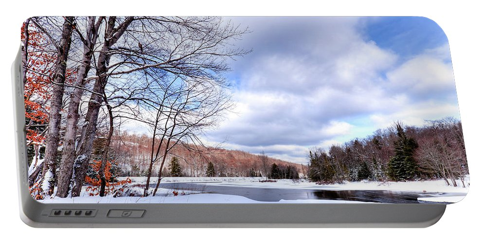 Landscapes Portable Battery Charger featuring the photograph Winter At The Dam by David Patterson