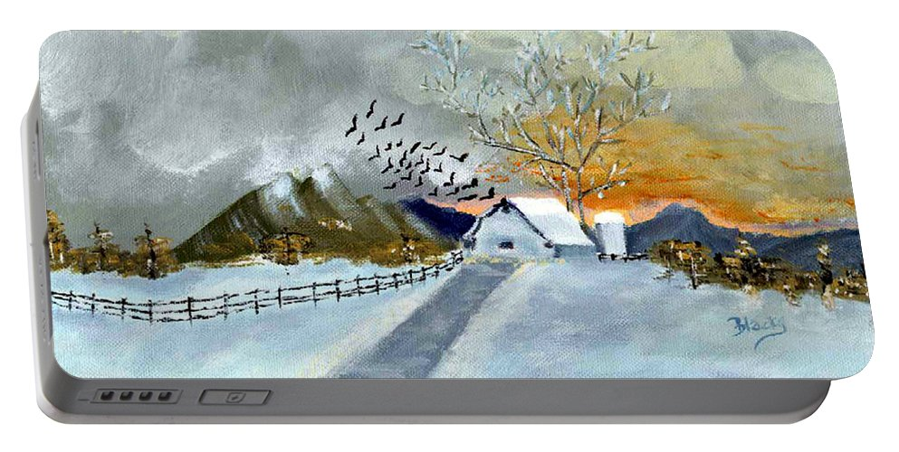 Barn Portable Battery Charger featuring the painting Winter Barn by Donna Blackhall