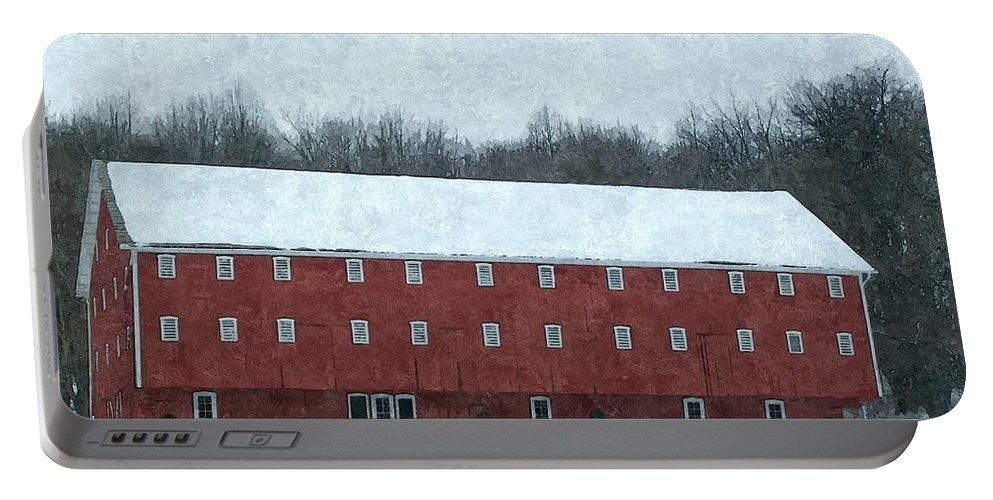 Barn Portable Battery Charger featuring the photograph Winter Barn In Oil by Sara Raber