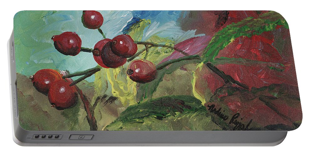 Berries Portable Battery Charger featuring the painting Winter Berries by Nadine Rippelmeyer
