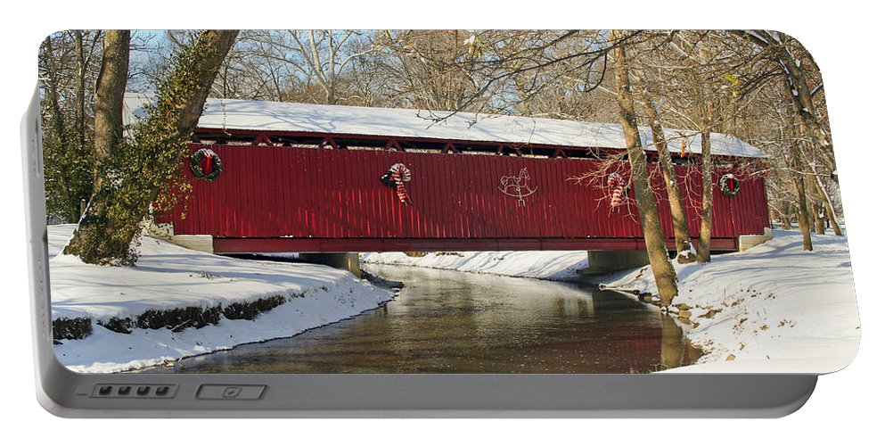 Covered Bridge Portable Battery Charger featuring the photograph Winter Bridge by Margie Wildblood