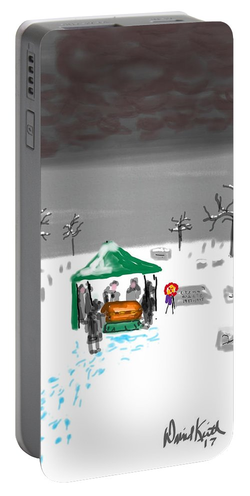 Decease Funeral Family Winter Snow Grey Skies Portable Battery Charger featuring the digital art Winter Burial by David R Keith