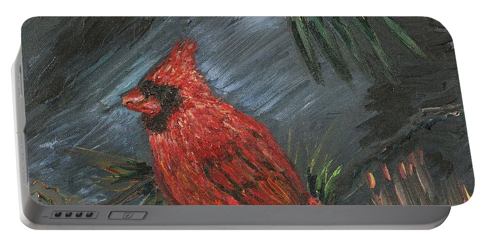 Bird Portable Battery Charger featuring the painting Winter Cardinal by Nadine Rippelmeyer