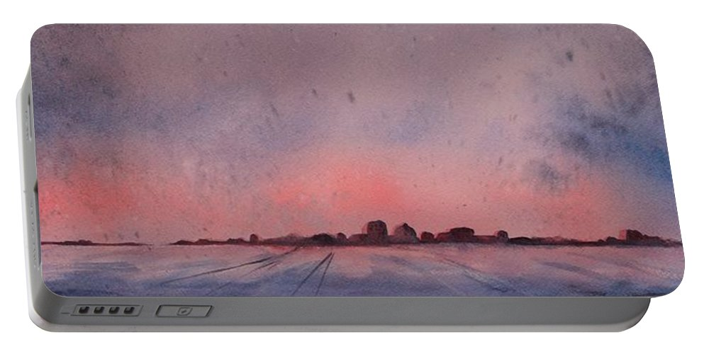 Winter Portable Battery Charger featuring the painting Winter City by Ruth Kamenev