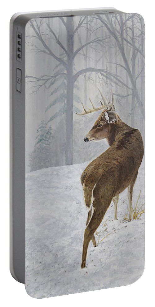 Buck Portable Battery Charger featuring the painting Winter Coat Buck by Johanna Lerwick