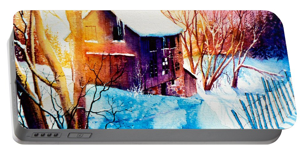 Winter Color Painting Portable Battery Charger featuring the painting Winter Color by Hanne Lore Koehler
