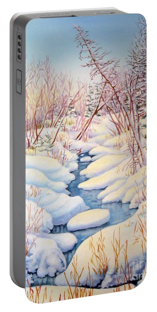 Winter Portable Battery Charger featuring the painting Winter Creek 1 by Inese Poga