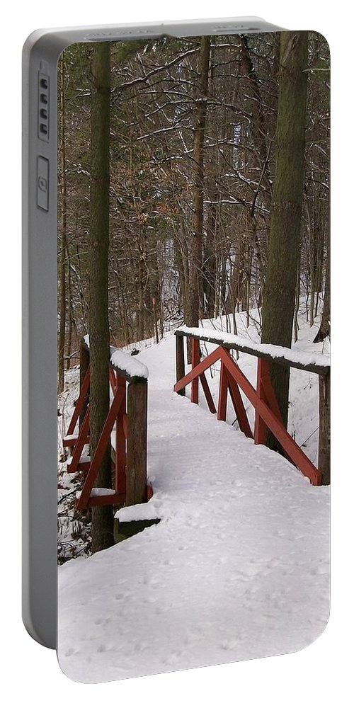 Woods Portable Battery Charger featuring the photograph Winter Crossing by Sara Raber