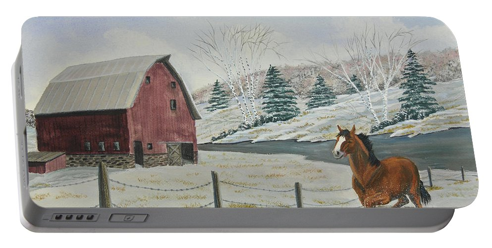 Barn Painting Portable Battery Charger featuring the painting Winter Dance by Charlotte Blanchard
