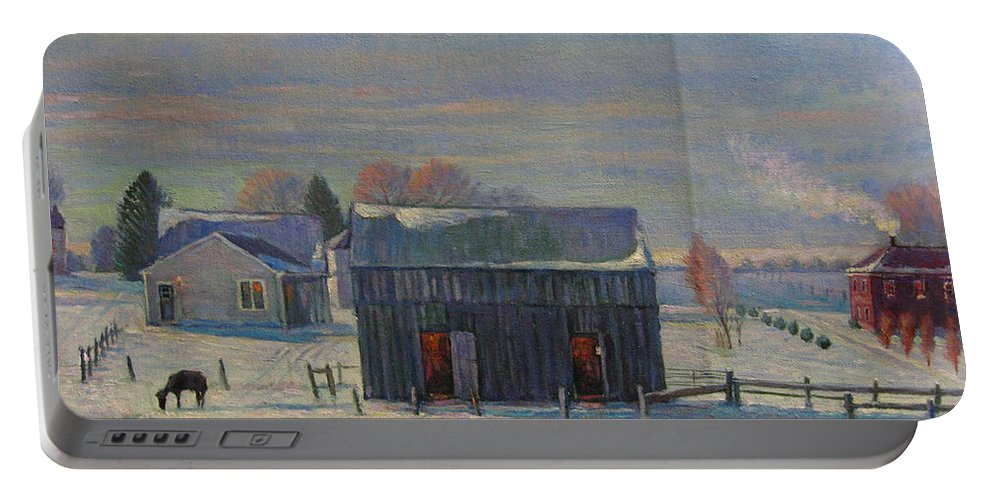 Portable Battery Charger featuring the painting Winter by Deliang Ma
