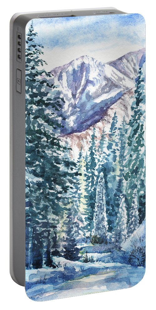 Winter Forest Portable Battery Charger featuring the painting Winter Forest And Mountains by Irina Sztukowski