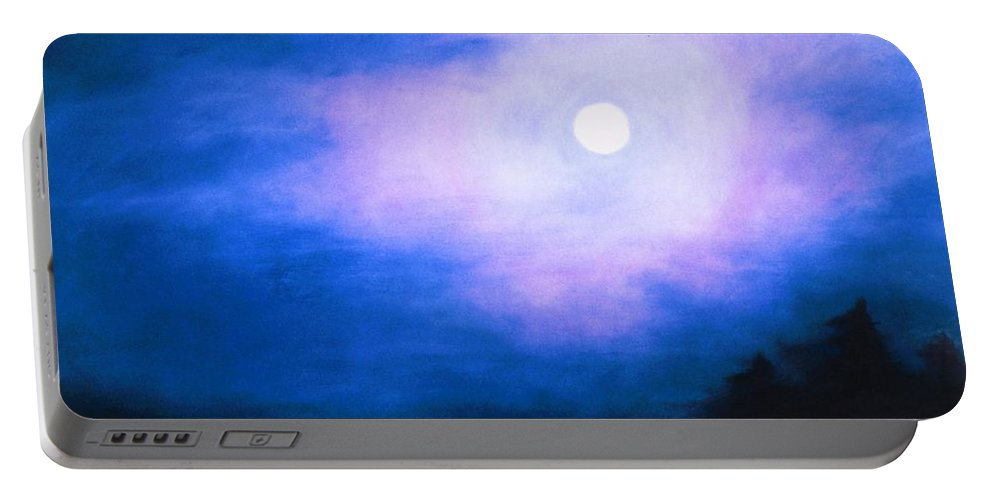Portable Battery Charger featuring the painting Winter Full Moon by Maryanna Bock