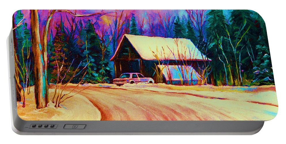 Landscape Portable Battery Charger featuring the painting Winter Getaway by Carole Spandau