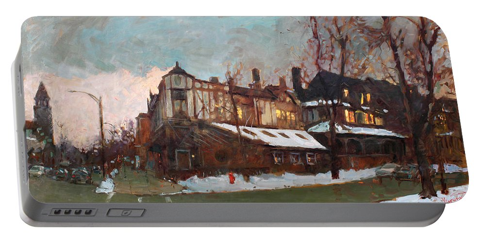 Landscape Portable Battery Charger featuring the painting Winter In Buffalo by Ylli Haruni