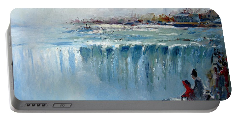 Landscape Portable Battery Charger featuring the painting Winter In Niagara Falls by Ylli Haruni