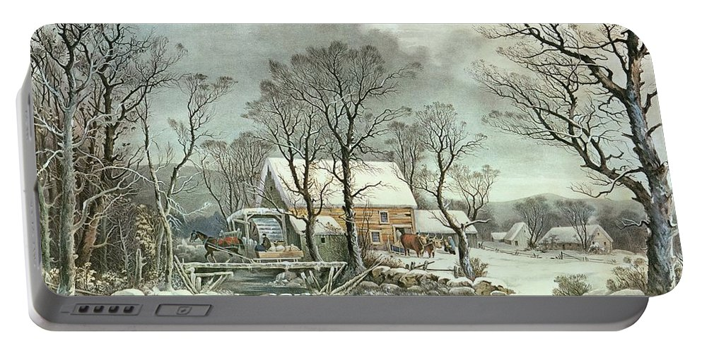Winter In The Country - The Old Grist Mill Portable Battery Charger featuring the painting Winter in the Country - the Old Grist Mill by Currier and Ives