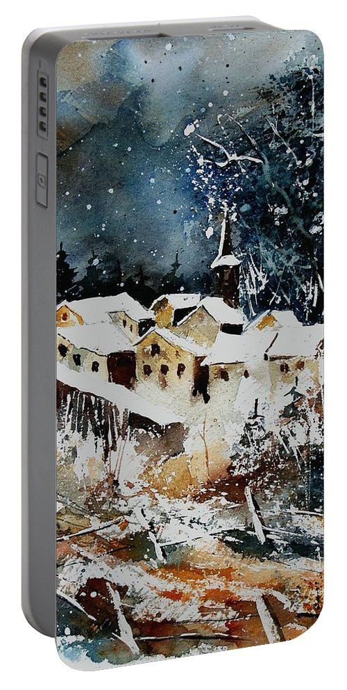 Winter Portable Battery Charger featuring the painting Winter In Vivy by Pol Ledent