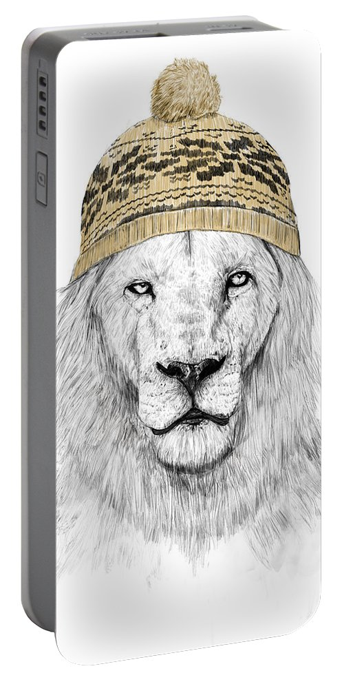 Lion Portable Battery Charger featuring the mixed media Winter Is Coming by Balazs Solti