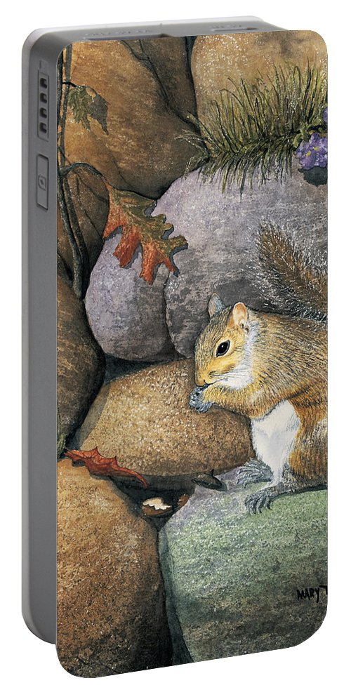 Nature Portable Battery Charger featuring the painting Winter Is Coming by Mary Tuomi