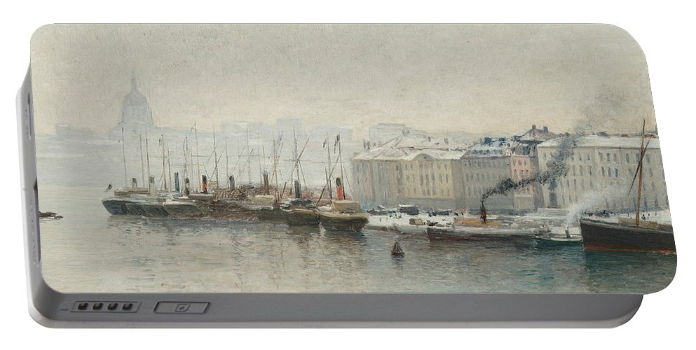 Swedish Art Portable Battery Charger featuring the painting Winter Landscape Over Skeppsbron, Stockholm by Alfred Wahlberg