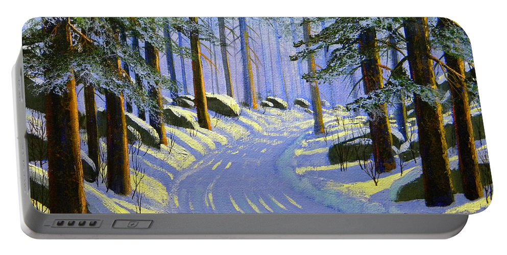 Tree Portable Battery Charger featuring the painting Winter Landscape Study 1 by Frank Wilson