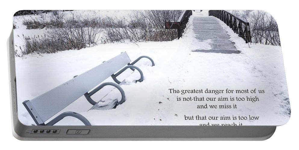 Bridge Portable Battery Charger featuring the photograph winter landscape with Inspirational Text by Donald Erickson