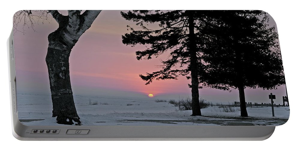 Old Mackinac Point Portable Battery Charger featuring the photograph Winter Morning by Michael Peychich