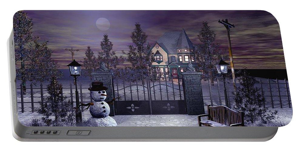 Winter Portable Battery Charger featuring the digital art Winter Night Scene by John Junek
