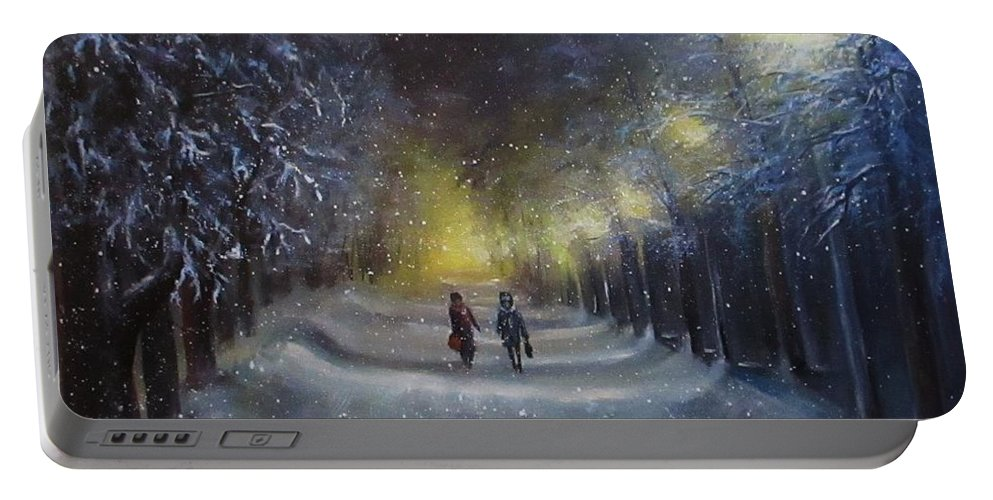 Night Lights Portable Battery Charger featuring the painting Winter night walk by Natalja Picugina